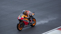 Dani Pedroza on back straight during wet FP2