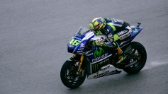 Valentino Rossi on back straight during wet FP2
